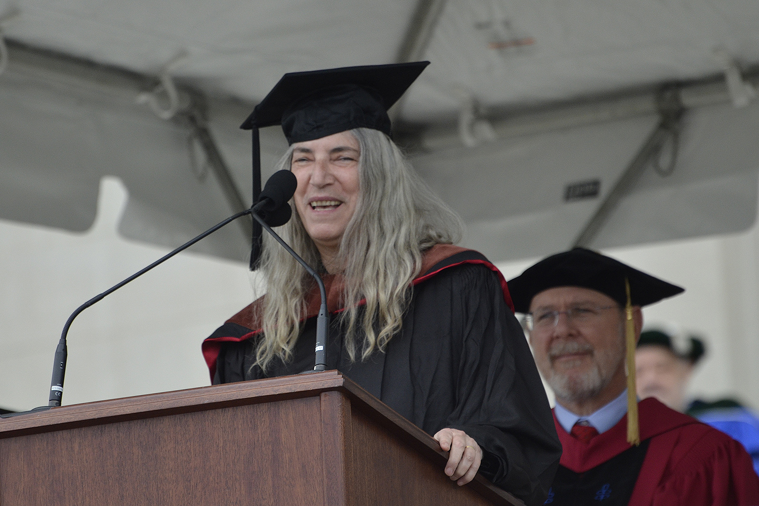 Patti Smith delivers remarks at Commencement. (Photo by John Van Vlack)