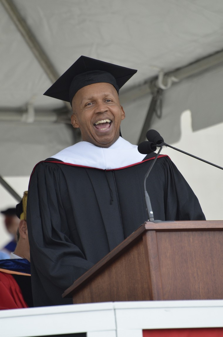 Bryan Stevenson speaks to the Class of 2016 during the 184th Commencement Ceremony on May 22. (Photo by John Van Vlack)