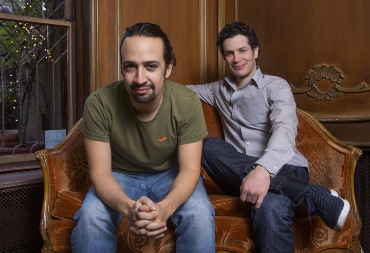 Lin-Manuel Miranda '02 and Thomas Kail '99. (Photo by Robert Adam Mayer