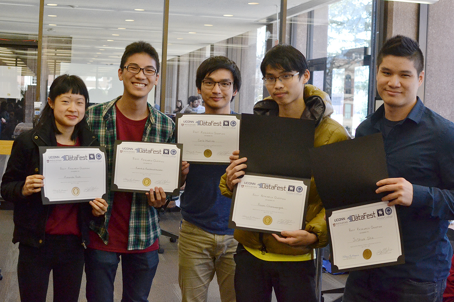 The Wesleyan Team Databytes received honorable mention for Best Research Question. Teammates included Amanda Yeoh '19,Korkrid (Kyle) Akepanidtaworn '18, Carlo Medina '18, Poom Chiarawongse '19 and Joshua Su '17.