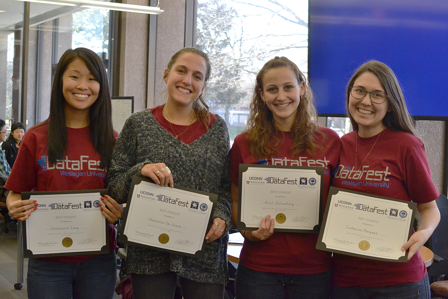 "The Wesleyan team QACs FOR LIFE was honored for ""Best Insight."" Teammates included Stephanie Ling '16, Alexandra De Veaux '17, Ariel Kaluzhny '16 and Catherine Marquez '16."