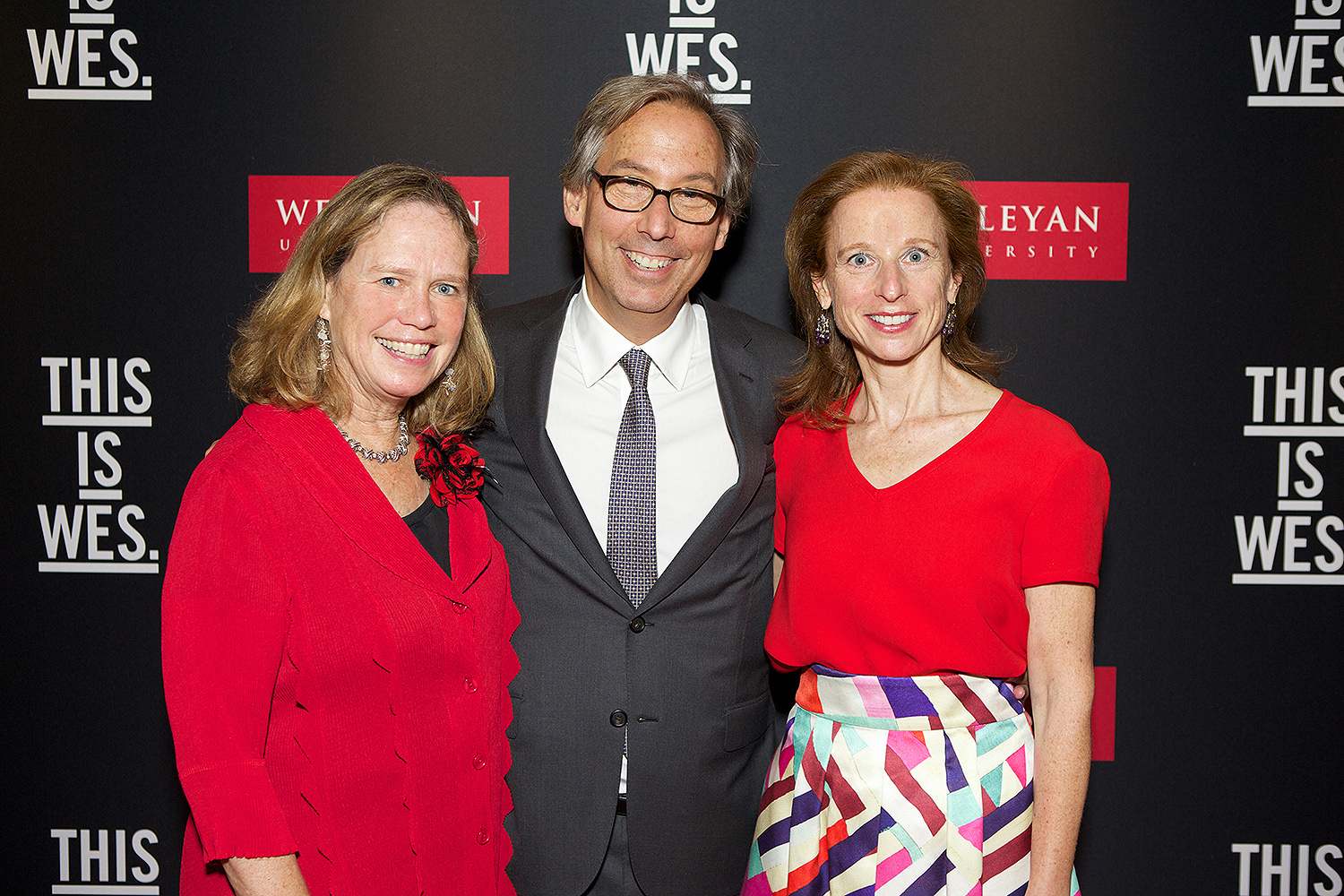 From left: Barbara-Jan Wilson, vice president for university relations; John Usdan '80, P'15, P'18, P'18; and Eva Usdan P'15, P'18, P'18.