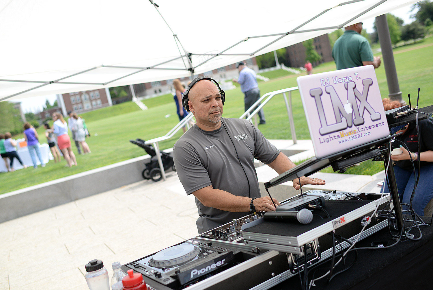 Mario Torres, material handler in Physical Plant, served as the gathering's DJ.