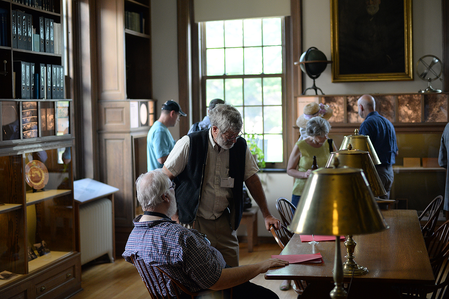 Guests visited the historical exhibit commemorating the observatory's centennial in the building's library.