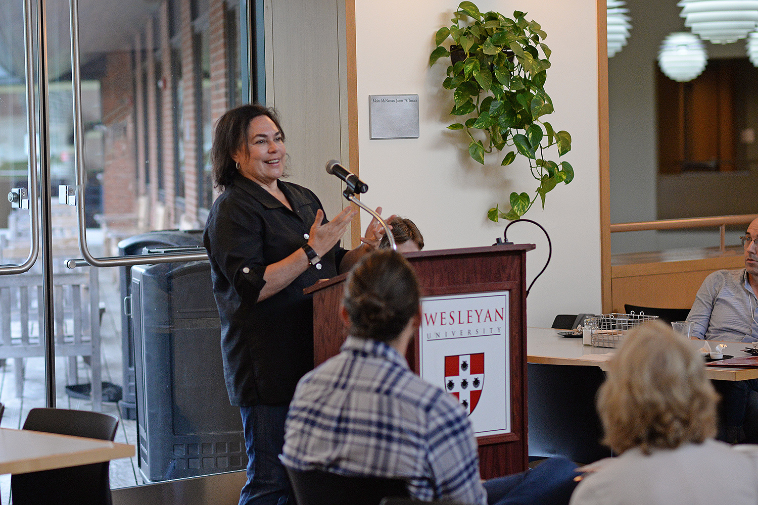 Amy Bloom, the Distinguished University Writer-in-Residence at Wesleyan, made remarks at the Writing Conference. Bloom is the author of three novels, three collections of short stories, a children's book, and an essay collection. She has been a nominee for both the National Book Award and the National Book Critics Circle Award.