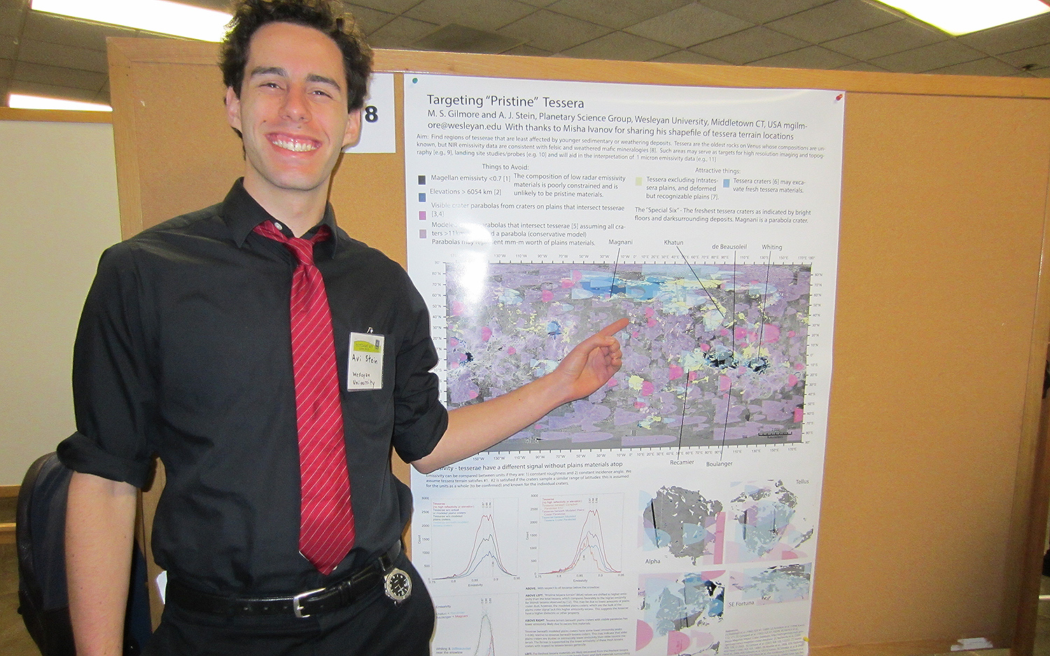"Avi Stein '17 presented his research titled ""Mapping 'Pristine' Tessera Regions on Venus."" From isotope fractionation, scientists know Venus used to have huge reserves of water, but only 10 percent of the surface known as tessera regions, has mineralogical clues that may provide a window to the past. Stein used satellite imagery of Venus and raster analysis tools in a software called ArcMap to identify the tessera regions."