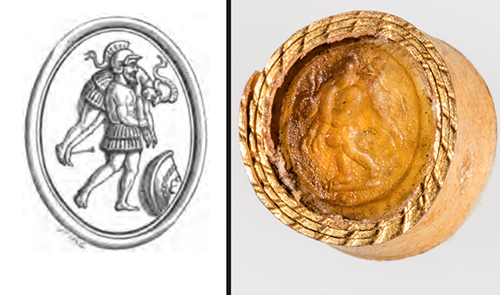 "The student researchers determined this Roman intaglio (at right) pictured Ajax carrying Achilles over his shoulder. An arrow is sticking out from the top of Achilles' foot. By using The Handbook of Engraved Gems by C. W. King, the students were able to find an illustration of a similar gem. ""This is how we came to the conclusion that it is Ajax carrying Achilles,"" Margot Metz said."