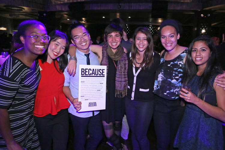 "More than 1,300 members of the Wesleyan community attended the ""Wesleyan Hamilton Evening on Broadway"" on Oct. 2, 2015 to raise funds for Wesleyan's THIS IS WHY Campaign. Pictured, from left, is Miranda Haymon '16, Melissa Leung '16, Wayne Ng '16, Lauren Langer '16, Amanda Roosa '16, Emma Buford '16 and Sadichchha Adhikari '16."