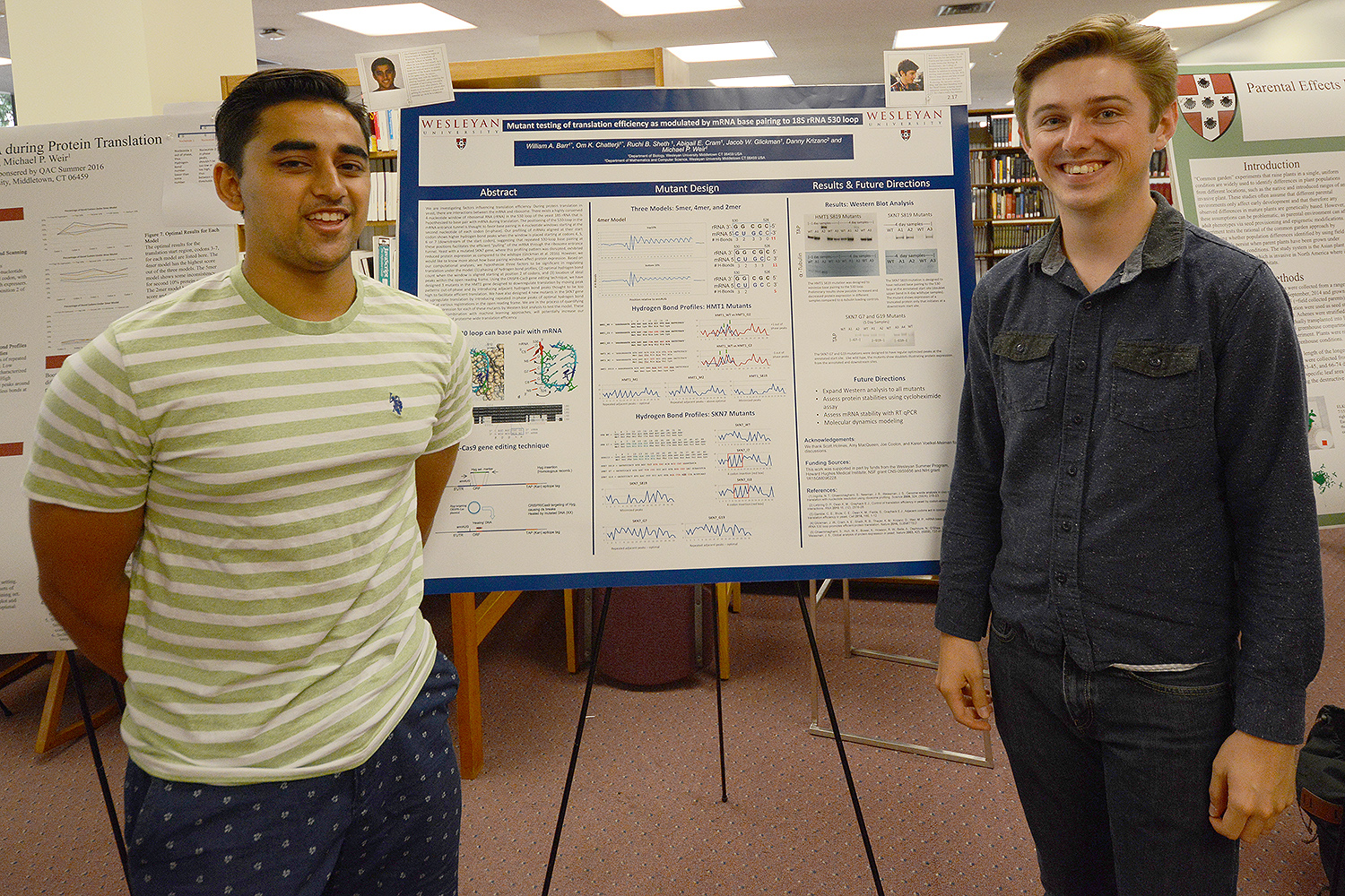 "Om Chatterji '18 and Will Barr '18 shared their poster titled ""Mutant Testing of Translation Efficiency as Modulated by mRNA Base Pairing to 18S rRNA 530 Loop."" Their advisors were Danny Krizanac, professor of computer science, professor of integrative sciences, and Michael Weir, professor of biology, professor of integrative sciences."