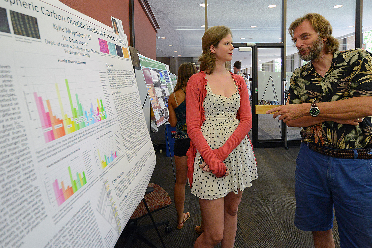 "Kylie Moynihan '17 speaks to Joop Varekamp, the Harold T. Sterns Professor of Earth Science, about her research titled ""Testing the Atmospheric Carbon Dioxide Model of Franks et. al."" Franks attempted to develop a new method for modeling atmospheric carbon dioxide. Moynihan's advisor is Dana Royer, chair and professor of earth and environmental sciences, professor of environmental studies."