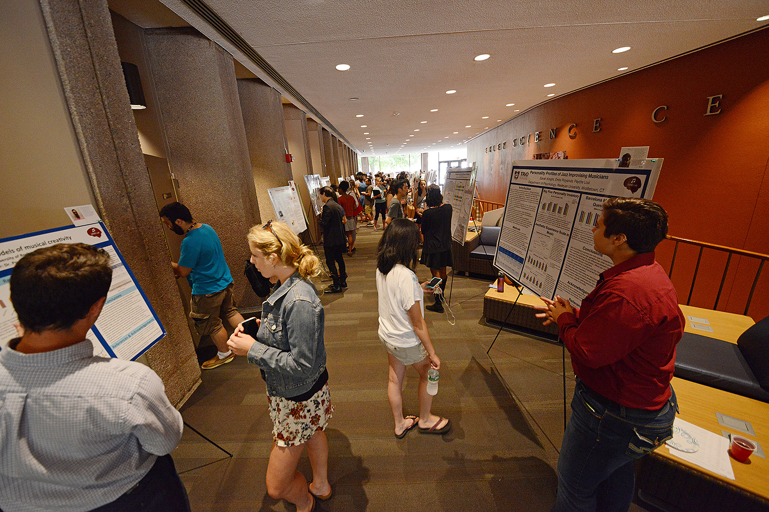 More than 100 undergraduate research fellows presented their work at the Wesleyan Summer Research Poster Session July 28 in Exley Science Center and the Science Library.
