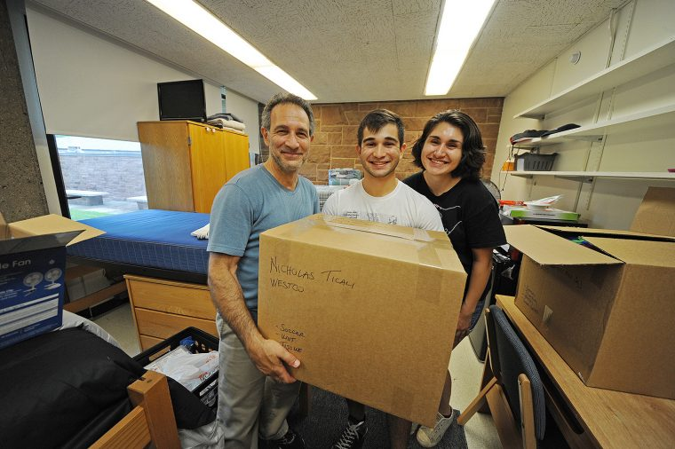 Nick Ticali '20, center, gets move-in assistance from his father Vinny and his sister Allana, who just graduated from Colgate University. The Ticali family is from Long Island, NY. Nick is excited about Wesleyan's interdisciplinary, cross-curriculum majors. He is thinking about studying biology and theater. Nick played varsity soccer in high school and may play club soccer here at Wesleyan.