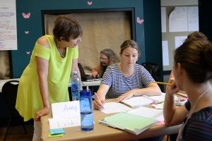 Sharon Heyman, a mathematics education specialist from the University of Connecticut, works with teachers at the Green Street Teaching and Learning Center.