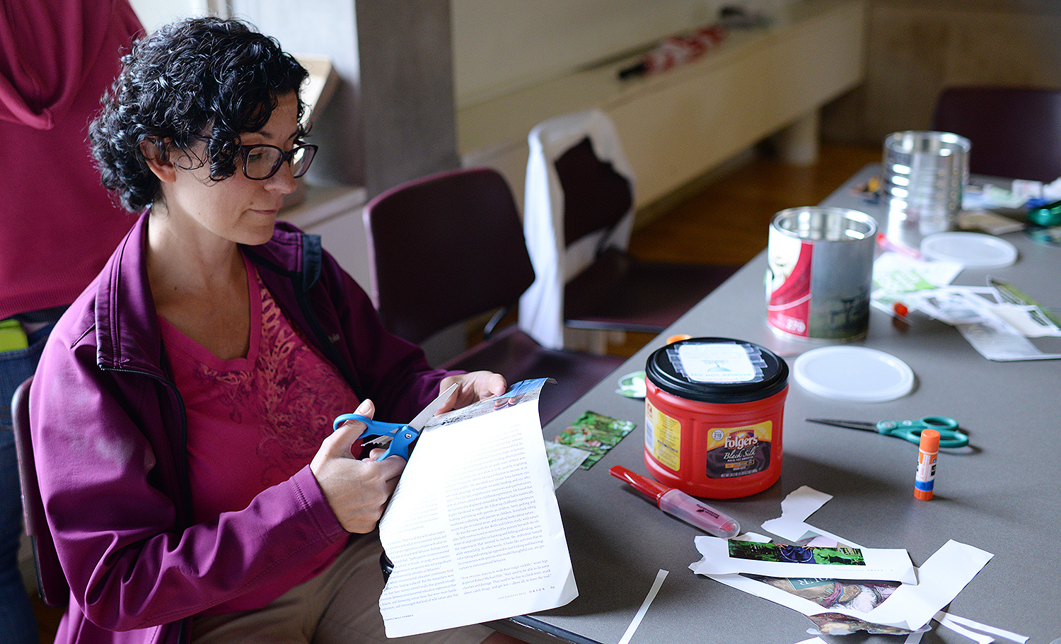 Jennifer Platt, manager of printing services, gets crafty with her mini-bin.
