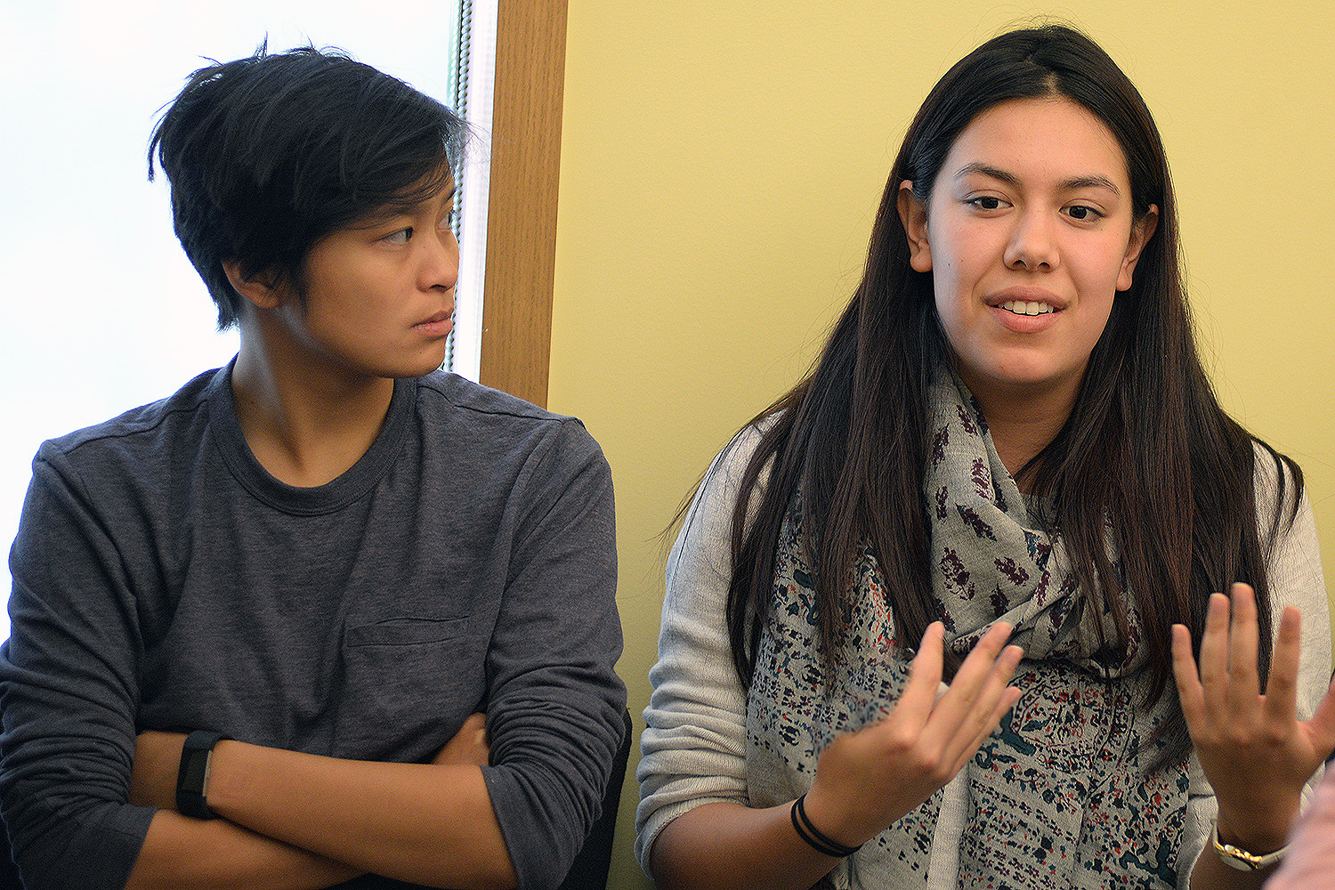 Grace Wong '18 and Sarah Small '18 are members of the Asian American Student Collective.
