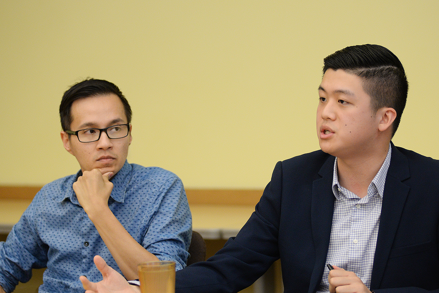 Long Bui, visiting assistant professor of American studies, and Alton Wang '15 moderated the discussion. While at Wesleyan, Wang studied sociology and government, chaired the Asian American Student Collective and taught a course on Asian American history. He currently works in Washington D.C. engaging voters at Asian and Pacific Islander American Vote and serves on the Board of Directors for the Conference on Asian Pacific American Leadership.