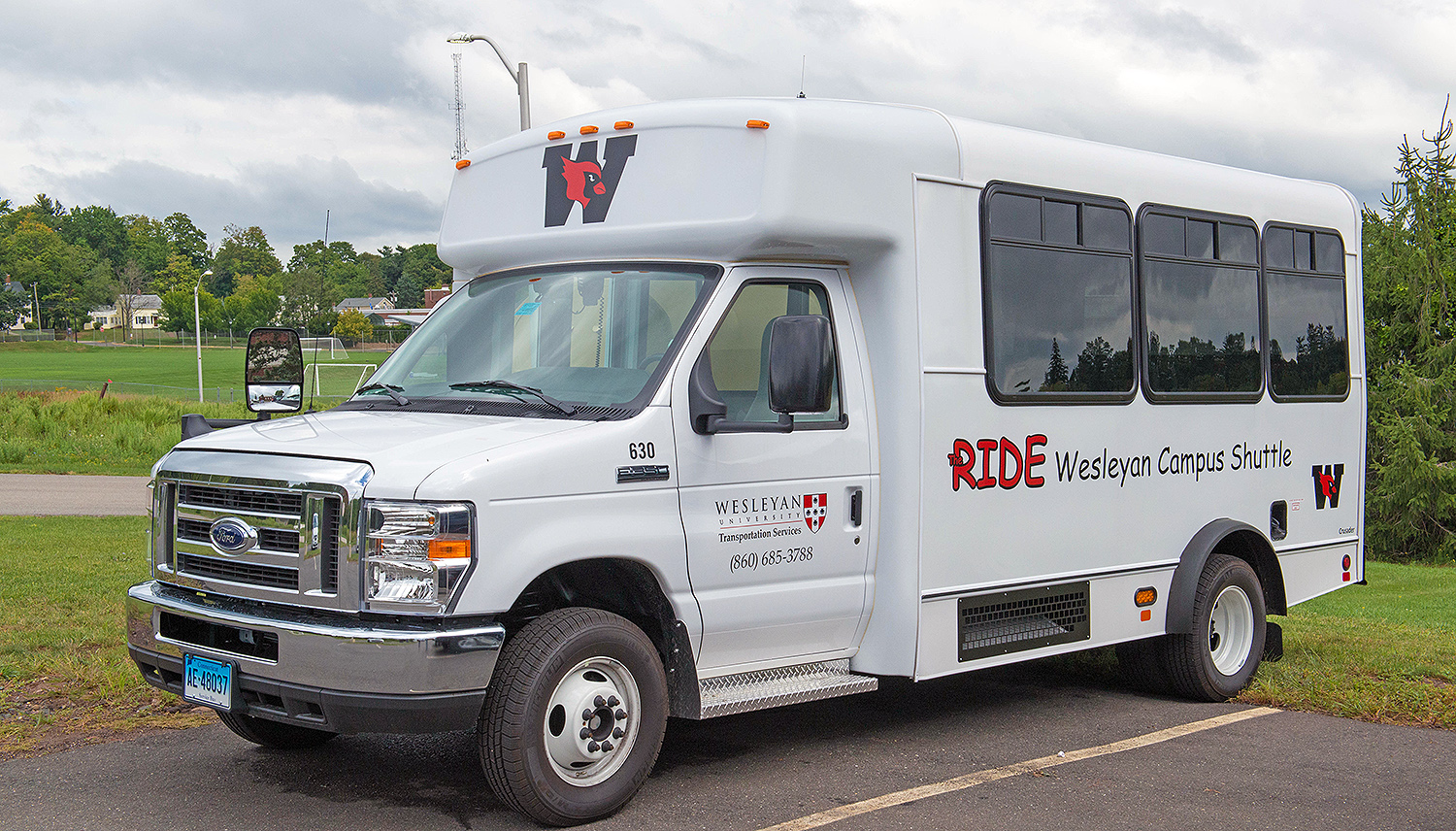 Wesleyan's Transportation Department announces the addition of a new 14-passenger bus to the Wesleyan RIDE system fleet.