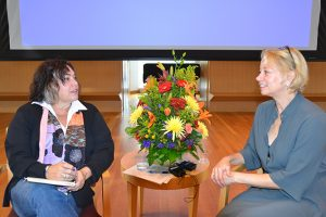 Amy Bloom, the Shapiro-Silverberg Professor of Creative Writing at Wesleyan (left), and award-winning mystery author Laura Lippman open Mysterium, a day-long conference for mystery writers, with a keynote conversation.
