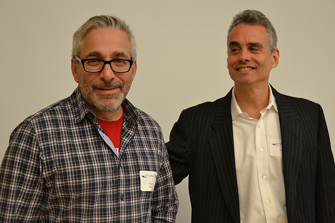 Peter Blauner '82 (left) and Gabriel Cohen '82 agreed that details were key in creating vivid detective novels. Blauner currently writes for Blue Bloods, the television show about a New York City police family; Cohen Cohen teaches writing at the Pratt Institute and has taught at NYU and the Center for Fiction's Crime Fiction Academy.