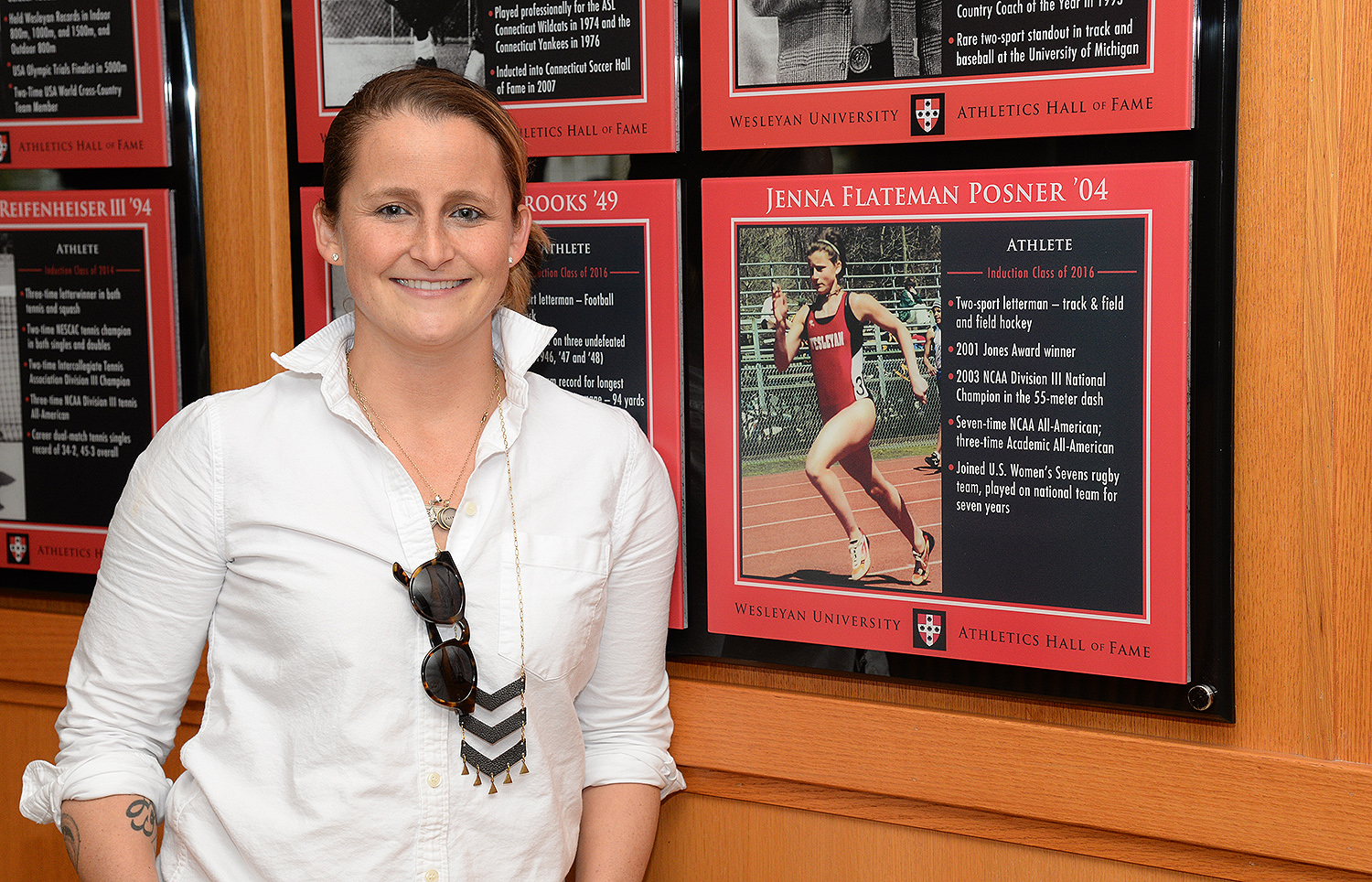 Jenna Flateman Posner '04, a 2003 NCAA National Champion, was an exceptional track athlete at Wesleyan, and also competed in field hockey for three years with the Cardinals before excelling in rugby following graduation. During her tenure at Wes, she set numerous records in track that still hold strong today. She is the indoor record holder in the 55-meter dash (:07.03) and the 200m (:25.71), and also a member of the 4x200m relay (1:44.74) and sprint medley relay (4:30.65) teams. Flateman Posner holds the fastest outdoor times in the 100m (:11.90) and the 200m (:24.88) as well, while also holding the record in the sprint medley relay (4:21.78). She piled up numerous accolades throughout her career, most notably the 2003 NCAA national title in the 55-meter dash, while also winning numerous New England Division III, NESCAC and ECAC titles, and earning several NCAA All-American, All-New England Division III, All-NESCAC and All-ECAC honors. Following her storied career, Flateman Posner competed in women's rugby and became a star on the USA Women's Sevens team.