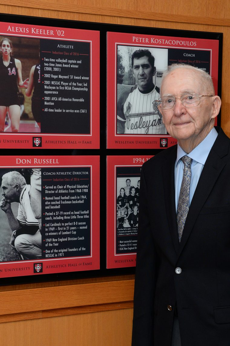 Don Russell was the former Chair of Physical Education and Director of Athletics (AD) at Wesleyan from 1968-to-1988, and also served as head coach of both the football and women's squash programs. As an AD, Russell was very active on both athletic and local committees, and was very well respected by administration, faculty, and his professional peers. As a football coach, Russell posted a 37-19 record, while coaching the Cardinals to three Little Three Championships ('66, '69, '70). He coached the last undefeated Wesleyan team in 1969 (8-0), and his .661 winning percentage is the highest among coaches in the modern era. The '69 Cardinals also shared the Lambert Cup with Delaware as the best division college team in the East, while Russell was named the New England Division College Coach of the Year.