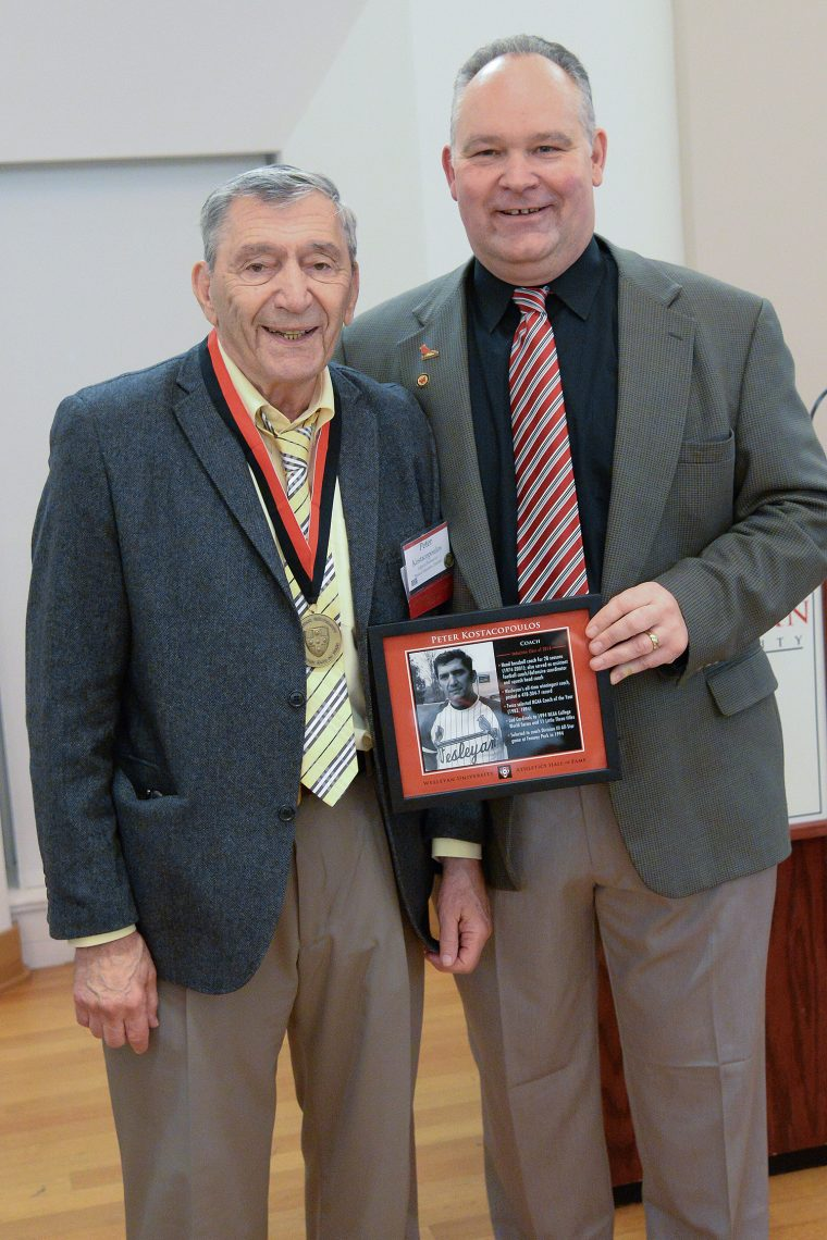 "Peter ""Kosty"" Kostacopoulos is the all-time winningest coach at Wesleyan. He served as the head baseball coach for 28 seasons, from 1974-to-2001, and also acted as an assistant football coach. During his tenure at the helm of the baseball program, the Cardinals posted a 478-304-7 record, which is good for a .610 winning percentage. He led Wesleyan to 11 Little Three titles, and a NCAA College World Series appearance in 1994, earning NCAA Coach of the Year honors as the Cardinals finished as runner-up. Kostacopoulos made lifelong friendships to his former players and made his student-athletes better on and off the field. He was a recruiter, motivator and game planner, and he earned the respect of his players."