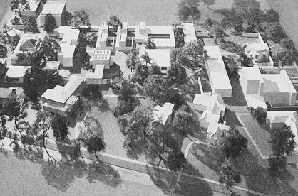 This bird's-eye view photograph shows the of the 1966 Center for the Arts model.