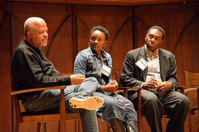 """Are we doing the job we should be doing, if we don't seek students from a lower socioeconomic rung?"" asked Allen Green P'19 on the topic of access and affordability in higher education, at this year's Dwight L. Greene Symposium. (Photo by John Van Vlack)"