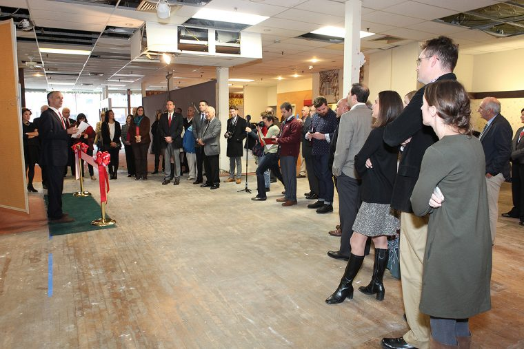 Wesleyan President Michael Roth speaks to a crowd at the new bookstore location on Nov. 30. (Photos by Laura Matesky)