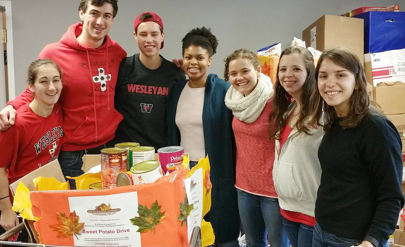 On Nov. 21, Wesleyan students and staff helped stuff 1,000 boxes with everything families will need for a Thanksgiving dinner celebration.