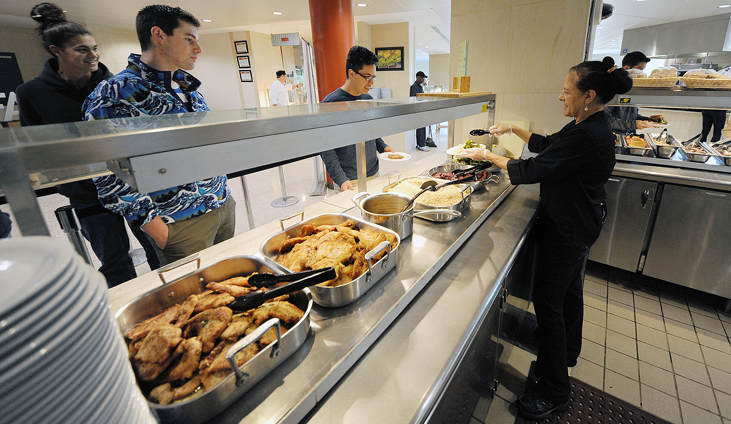 "As part of Wesleyan's sustainability efforts, the Wesleyan Student Association Dining Committee removed all trays from the Usdan Marketplace in 2009. The ""traylessness"" action is one way Wesleyan has worked to reduce food waste."