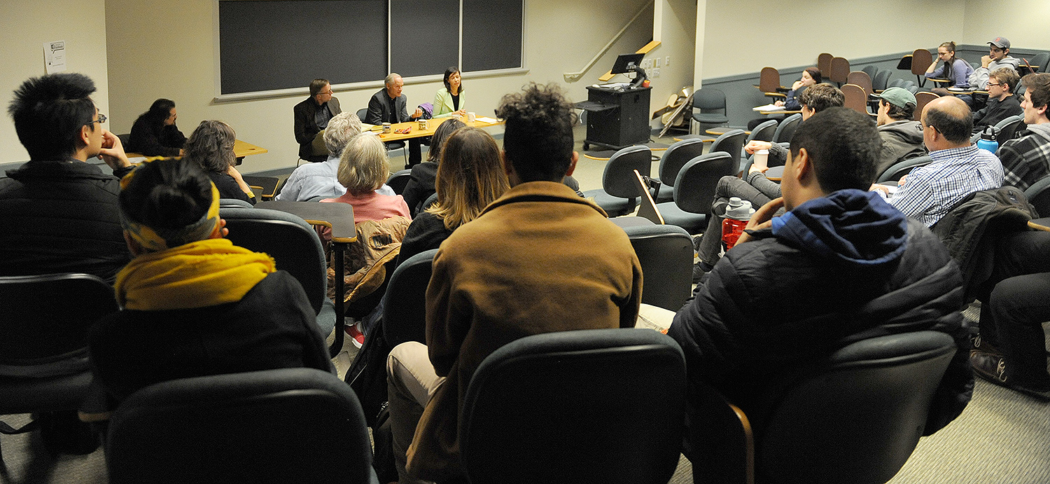 "Wesleyan students, faculty and staff attended a discussion on ""The Historic Decision on Net Neutrality, and What it Means for the Future"" Nov. 10 in the Public Affairs Center. Net neutrality is a central issue of freedom of speech and access on the Internet."