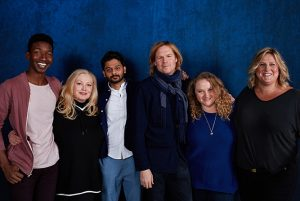 The cast of Patti Cake$: Mamoudou Athie, Cathy Moriarty, Siddharth Dhananjay, director Geremy Jasper, Danielle Macdonald, and Bridget Everett, which was a Sundance hit. (Photo by Daniel Bergeron)