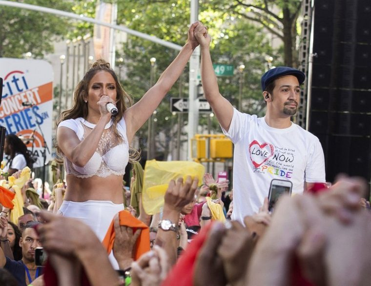 "Lin-Manuel Miranda teamed up with Jennifer Lopez on the benefit single ""Love Make the World Go Round."" (Associated Press photo)"