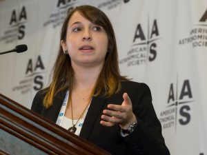 Astronomy student Julia Zachary '17 presented research at a press conference at the American Astronomical Society's 229th annual meeting on Jan. 6. (Photo by © CorporateEventImages/Todd Buchanan 2017)