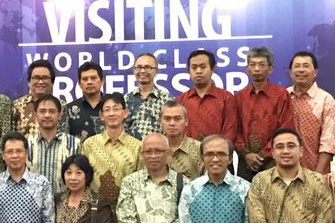 "Sumarsam, pictured third from left in the top row, joined 40 scholars for the ""Visiting World Class Professors"" conference in December."