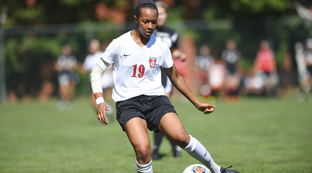 Women's soccer player Sarah Sylla '17 is one of 68 student-athletes who was named to the NESCAC's Fall All-Academic Team. (Photo by Steve McLaughlin