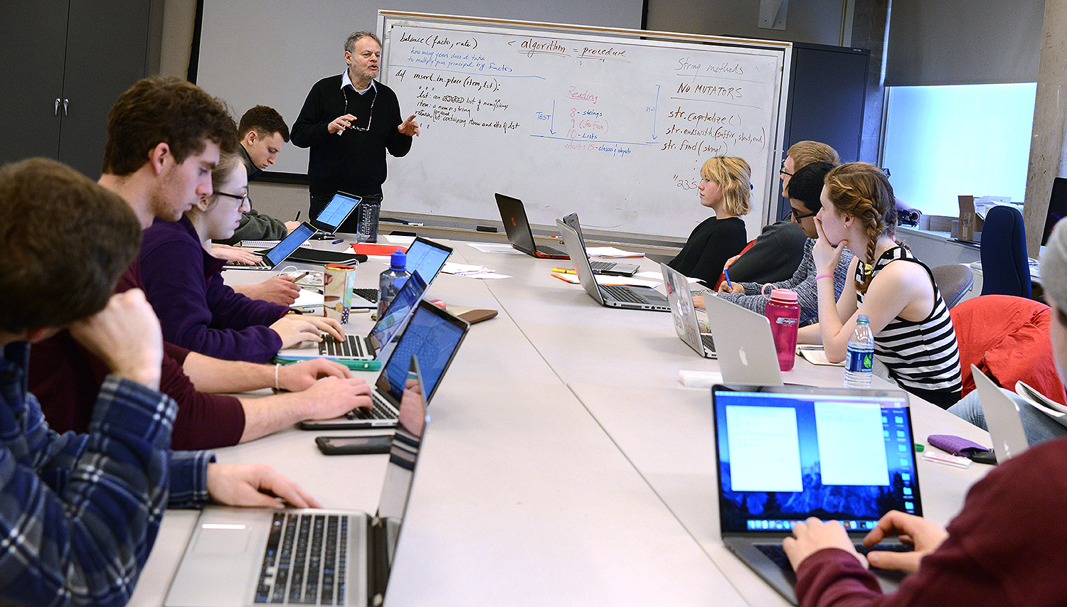James Lipton, professor of computer science, teaches Introduction to Programming on Jan. 9. His class is one of seven being taught this January during Wesleyan's fourth Winter Session.