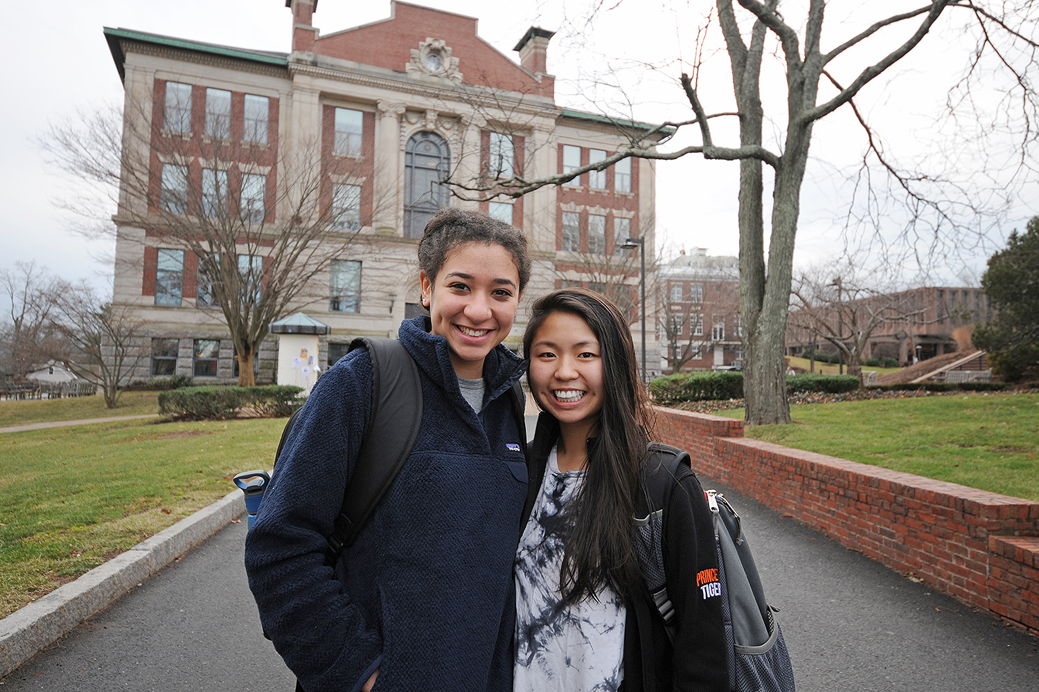 "Erica Yim '19 of Baltimore, M.D. and and Allegra Fils-Aime '19 of Long Island, N.Y. were most elated to return to Wesleyan to see each other and other friends. ""We are roommates in Butts C, and we missed each other. We're glad to be back at Wes,"" Allegra said."