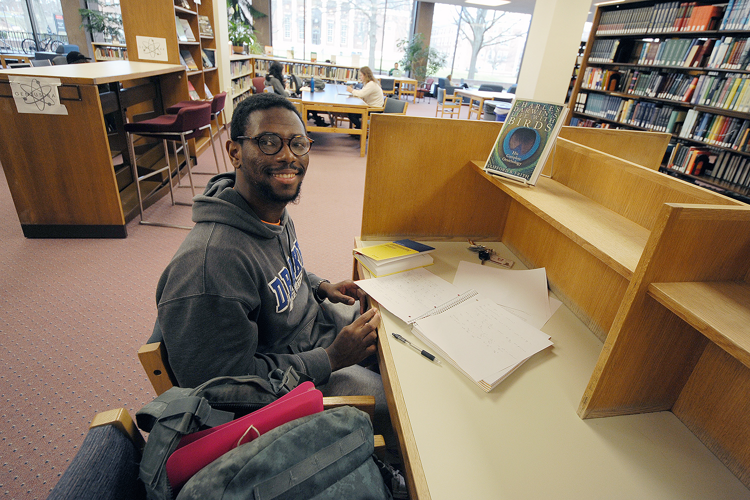 "Jamaica native Nicholas Evans '18 spent his winter recess in Stratford, Conn., where his parents now reside. ""I really enjoyed spending time with [my parents], but I missed the constant interaction with people here at Wesleyan. It's interesting to go from almost complete isolation to having everybody everywhere,"" he said. Nicholas, who is majoring in mathematics, and was already solving equations in the Science Library on his first day back, said he hoped to work on homework while he was away on break, but not everything went according to plan. ""I'm an avid reader and I love to borrow four or five books and just read,"" he said. ""But math. Somehow math homework never came up."""
