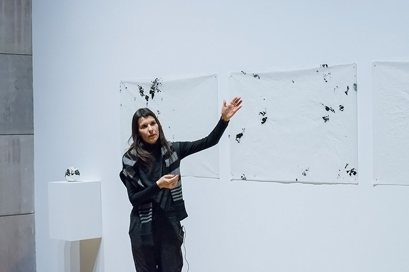 Multimedia artist Clarissa Tossin discusses her artwork at the IN STEREO event and artist walkthrough on February 7, 2017. Photo by Perceptions Photography.