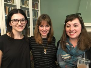 Three young alumni in the publishing industry Anabel Pasarow '13, Danielle Spring '16, and Caitlin O'Shaughnessy '08, returned to campus to offer tips and answer questions at a panel discussion sponsored by the English Department.