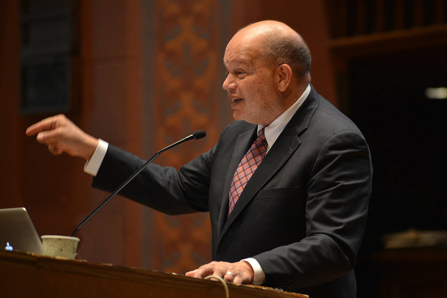 """Theodore Shaw '76, Hon. '14 spoke on """"Freedom is a Constant Struggle"""" during Wesleyan's annual Dr. Martin Luther King Jr. commemoration Feb. 3 in Memorial Chapel."""
