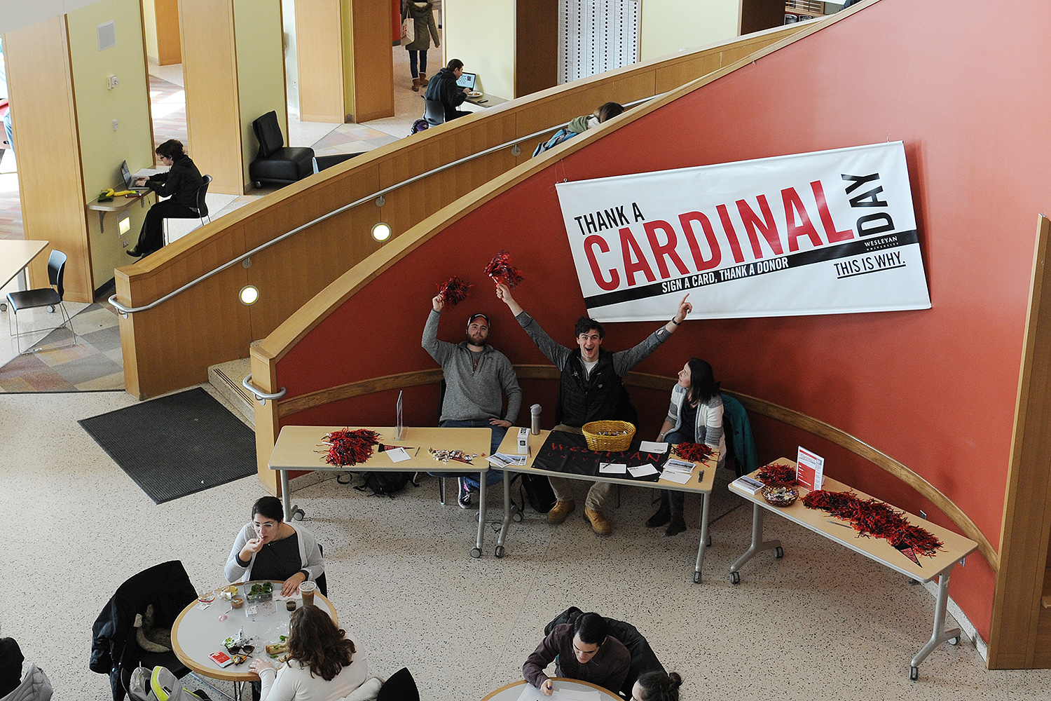 On Feb. 21, staff from University Relations and the Red and Black Society hosted Thank a Cardinal Day in Usdan University Center.