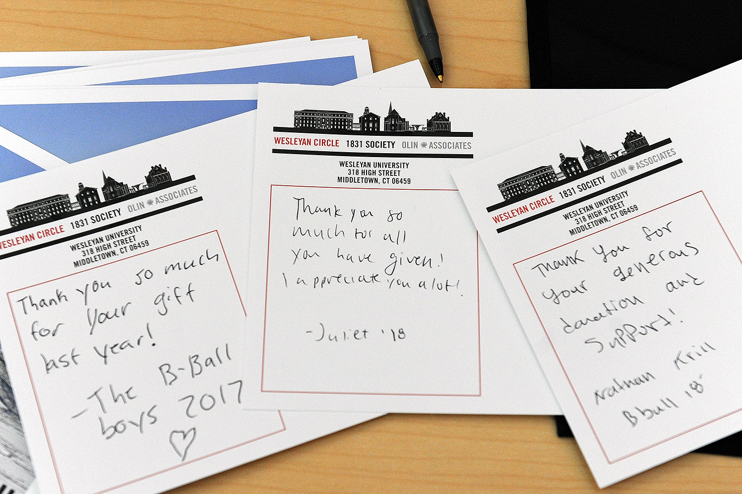 Students had an opportunity to write brief thank you notes to alumni, parents and friends who've made gifts to Wesleyan. Many of these gifts support financial aid.