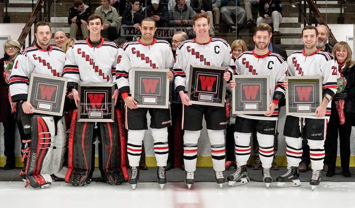 Prior to the Feb. 17 game against Trinity, Wesleyan honored the six members of its senior class: Rob Harbison, James Kline, Cole Morrissette, Quincy Oujevolk, Daniel Weiss and Dawson Sprigings.