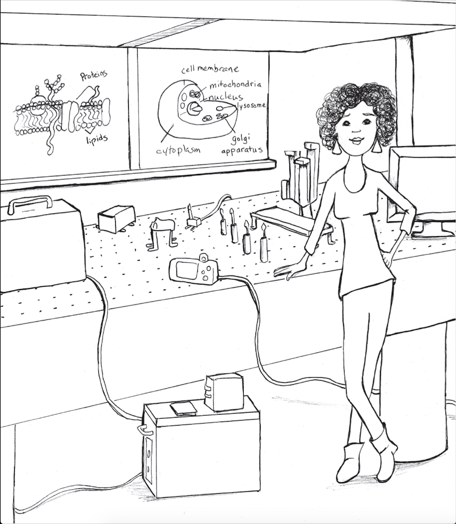 LaNell Williams '15, who studied physics at Wesleyan, is one of 22 women in science and technology careers featured in a new coloring book by Sara MacSorley.