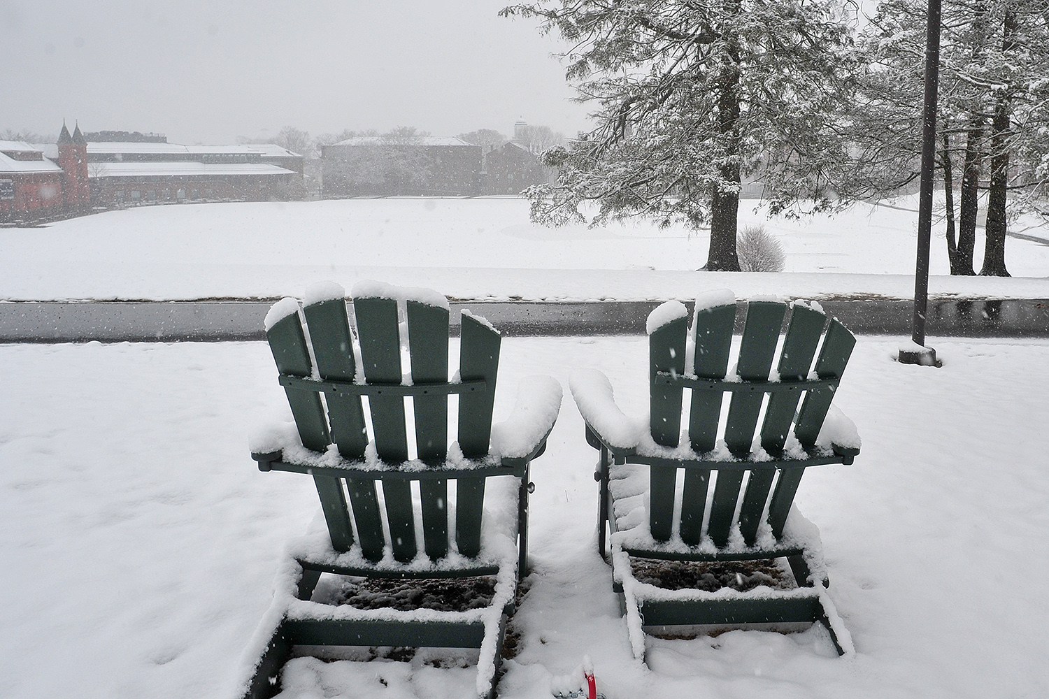 Enjoy spring break from these lounge chairs on Foss Hill.