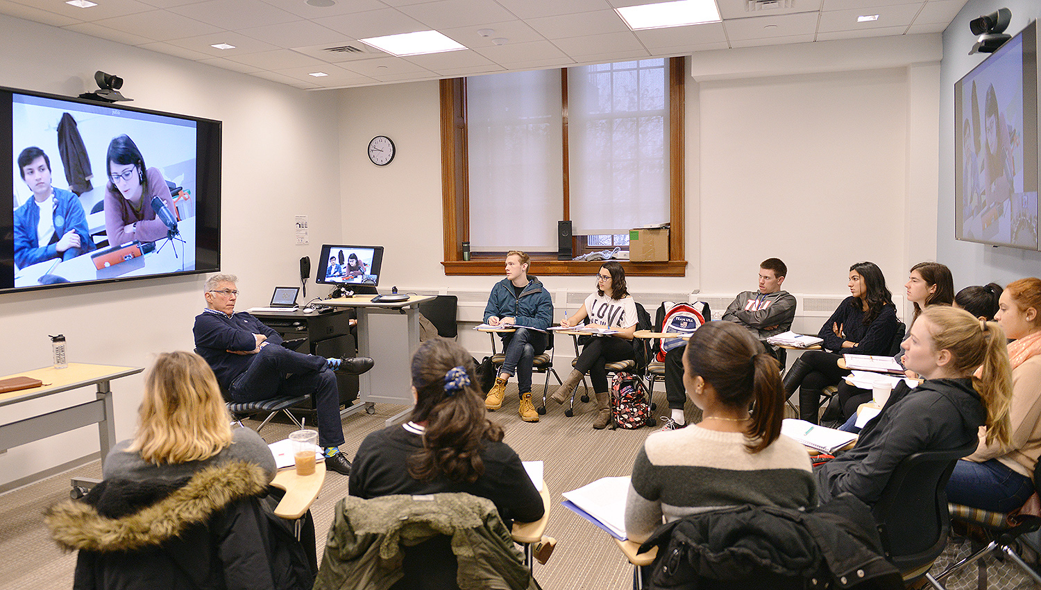 On March 28, the Spanish 258 class, taught by Antonio Gonzalez, professor of Spanish, interacted with a class at at Charles III University in Madrid, Spain over videoconferencing. (Photos by Olivia Drake)