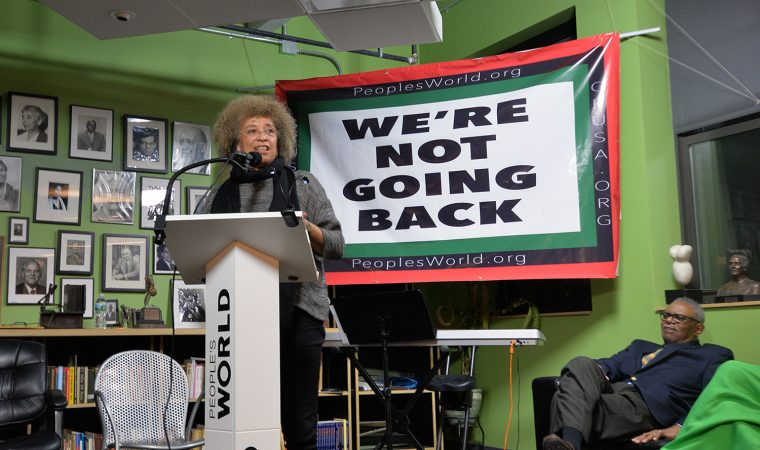 Angela Davis speaks at the Unity Rally. (Photo by Gabe Hurlock '20)